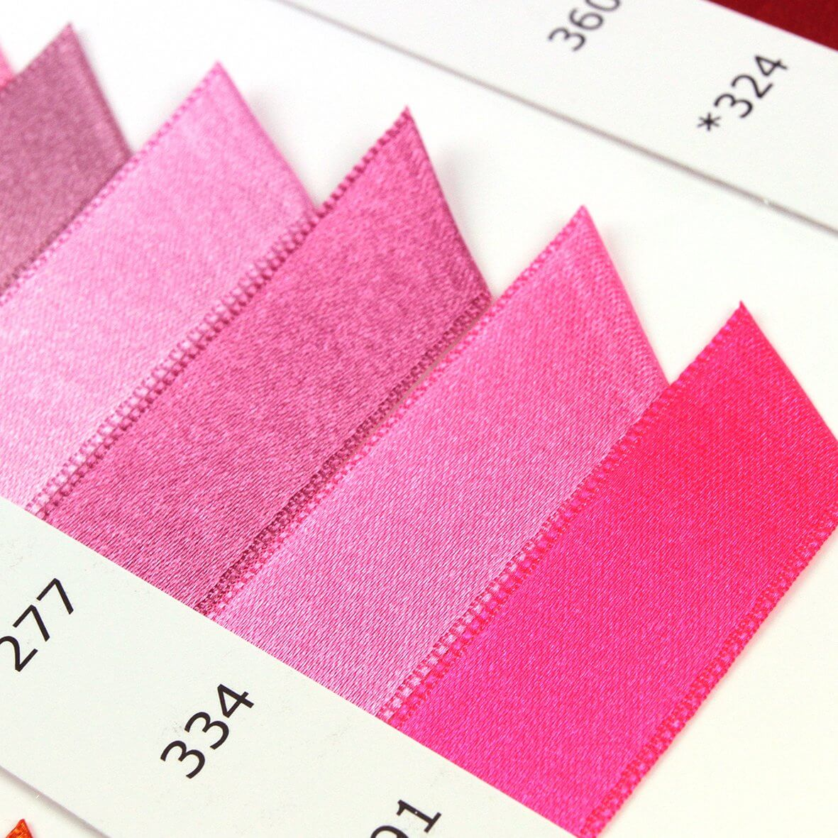 Satab Double Faced Satin Ribbon Shade Card - Pinks