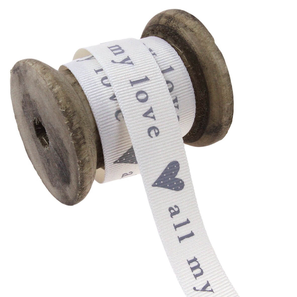 15mm All My Love (Natural/Grey) Colour 1 Ribbon - Display Reel