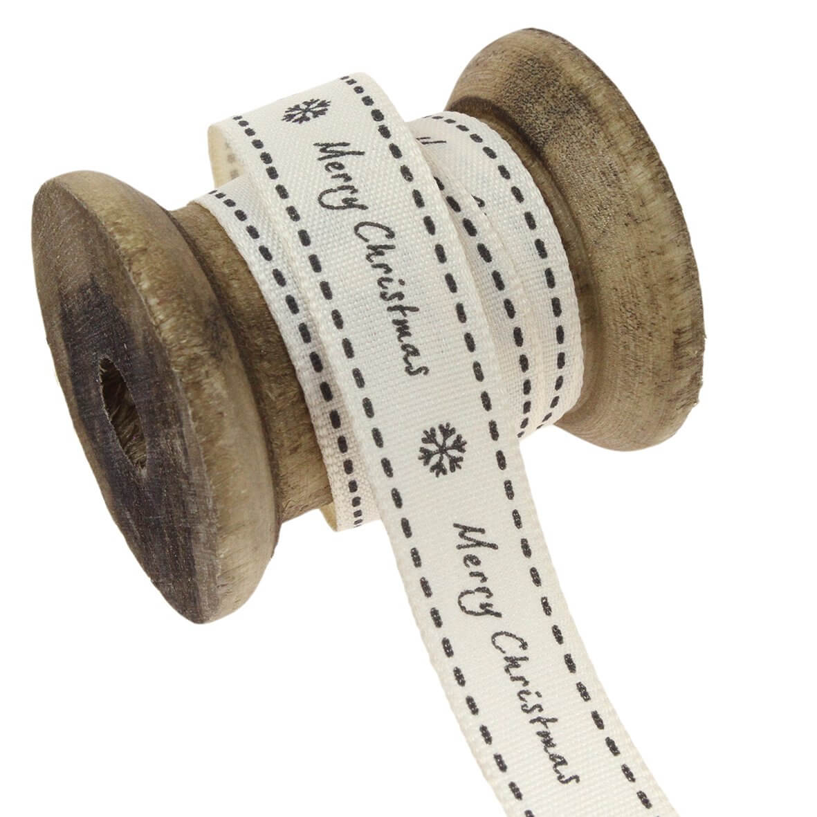 15mm Merry Christmas (Natural/Charcoal) Colour 2 - Display Reel