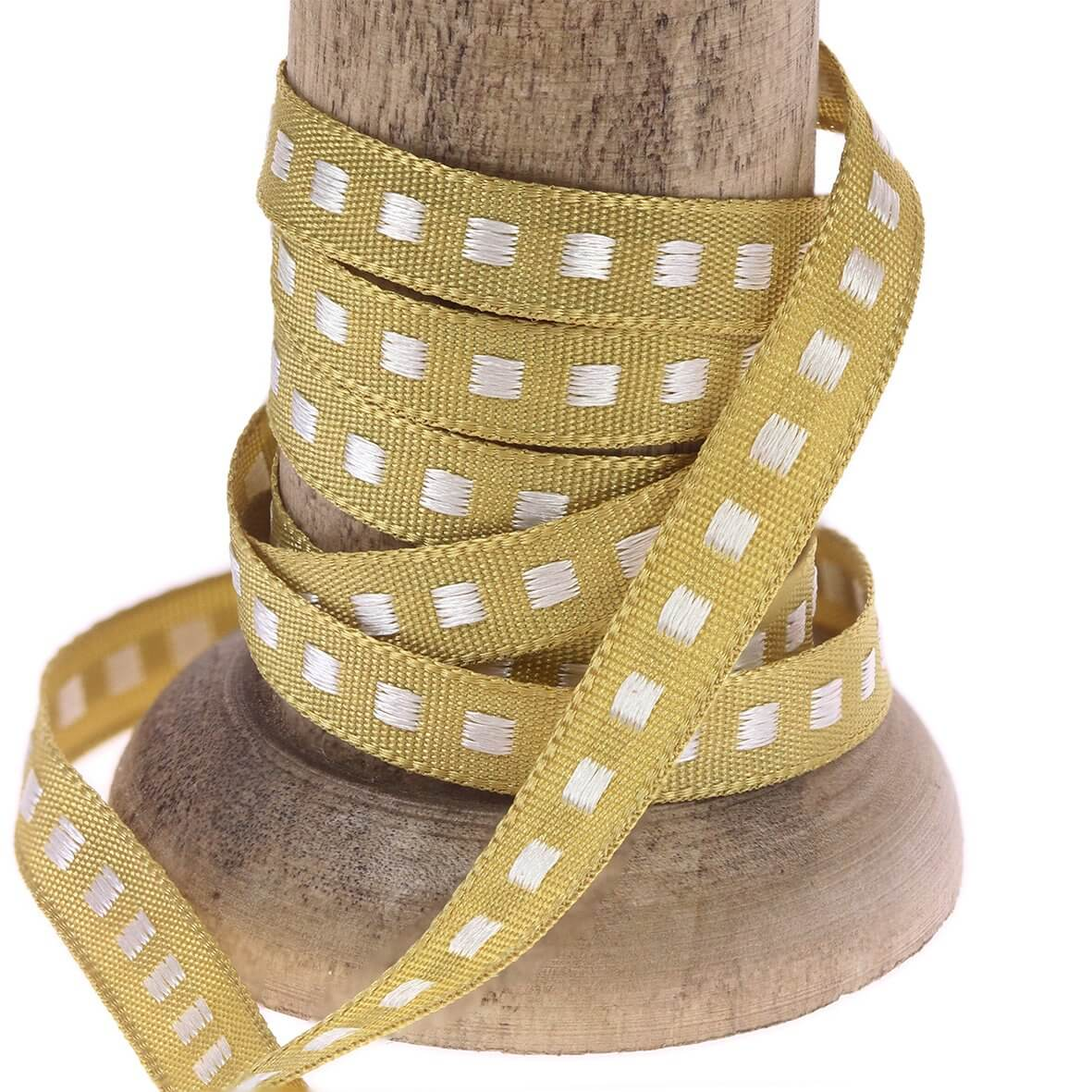 Honey Gold 7mm Box Stitch Ribbon Colour 678 - Reel