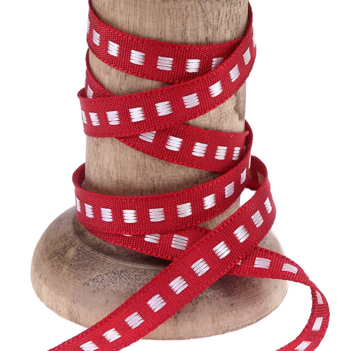 Red 7mm Box Stitch Ribbon Colour 15 - Reel