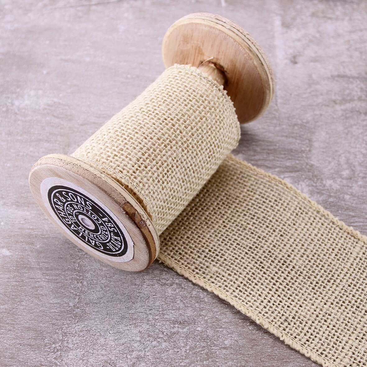 Wired 70mm Rustic Hessian Ribbon - Ivory