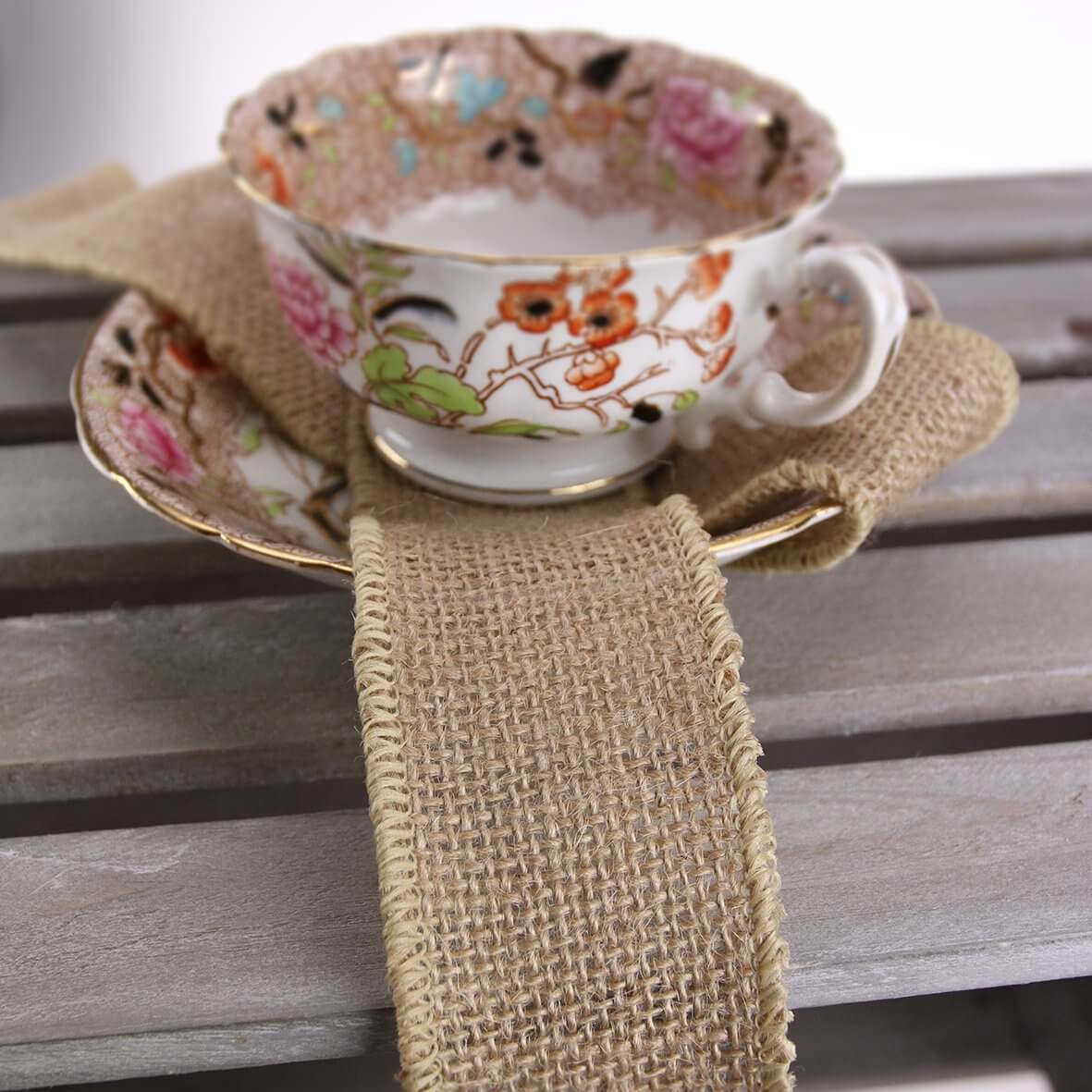 Wired 50mm Rustic Hessian Ribbon - Natural