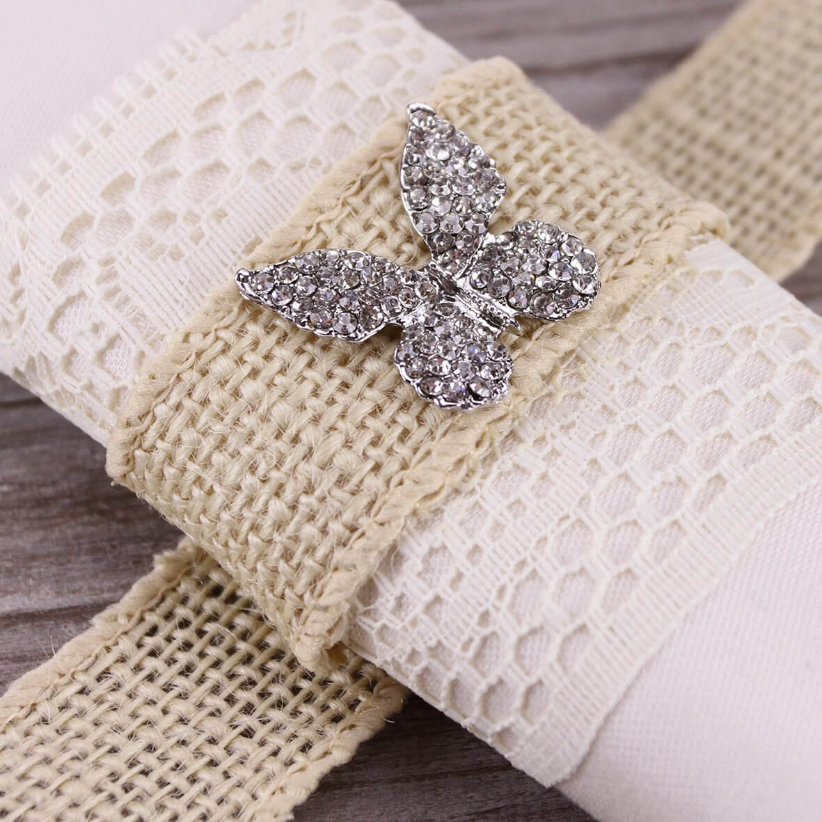 Wired 32mm Rustic Hessian Ribbon - Ivory