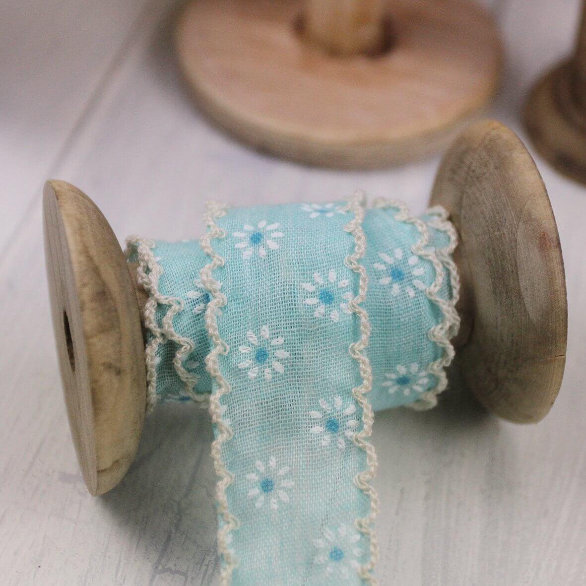 Vintage Daisy Lace Edge Ribbon 25mm - Turquoise