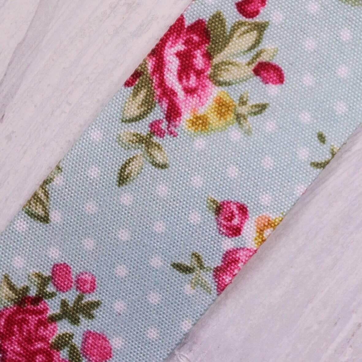 Floral Polka Dot Ribbon 25mm - Antique Blue