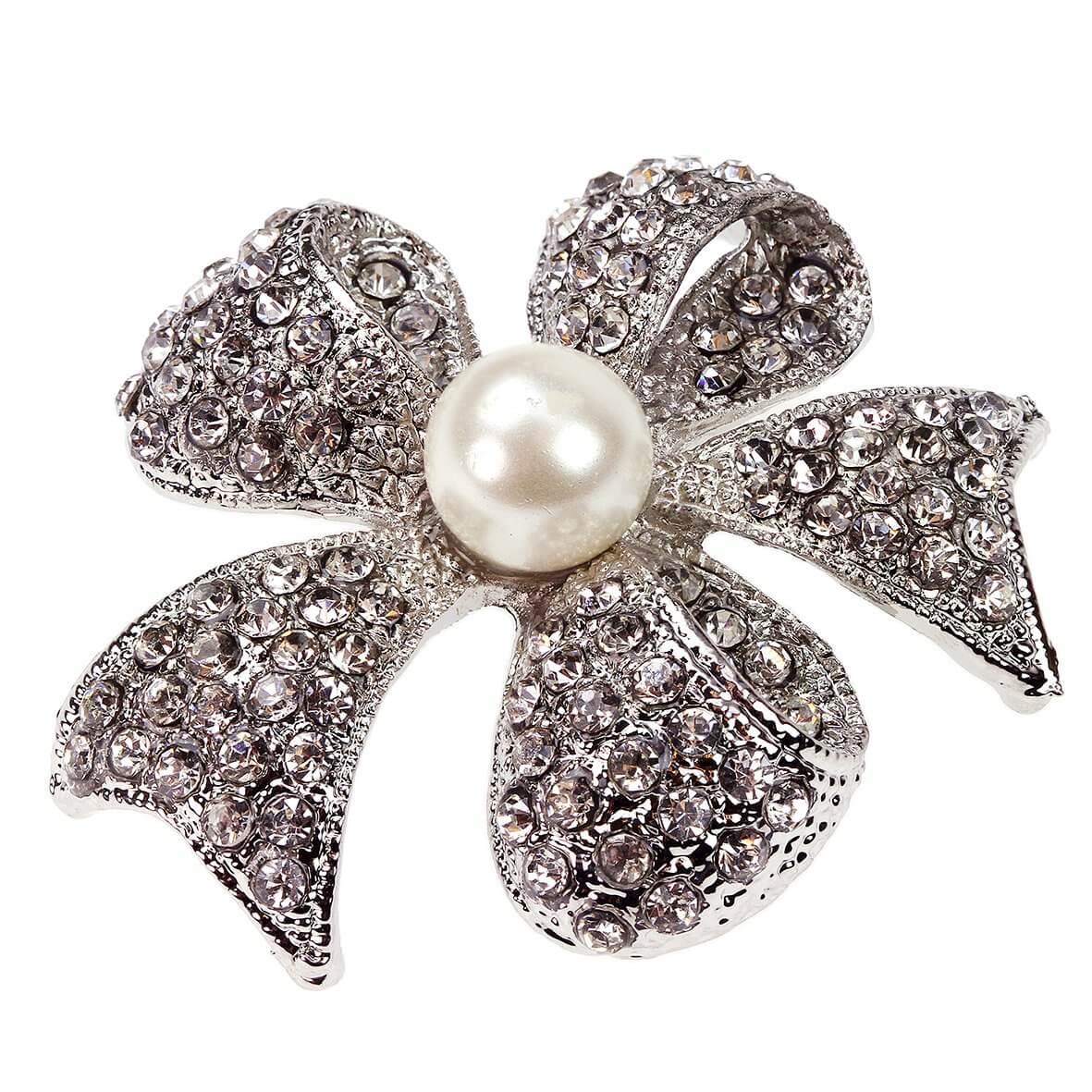 Hope Diamante Ribbon Bow Brooch