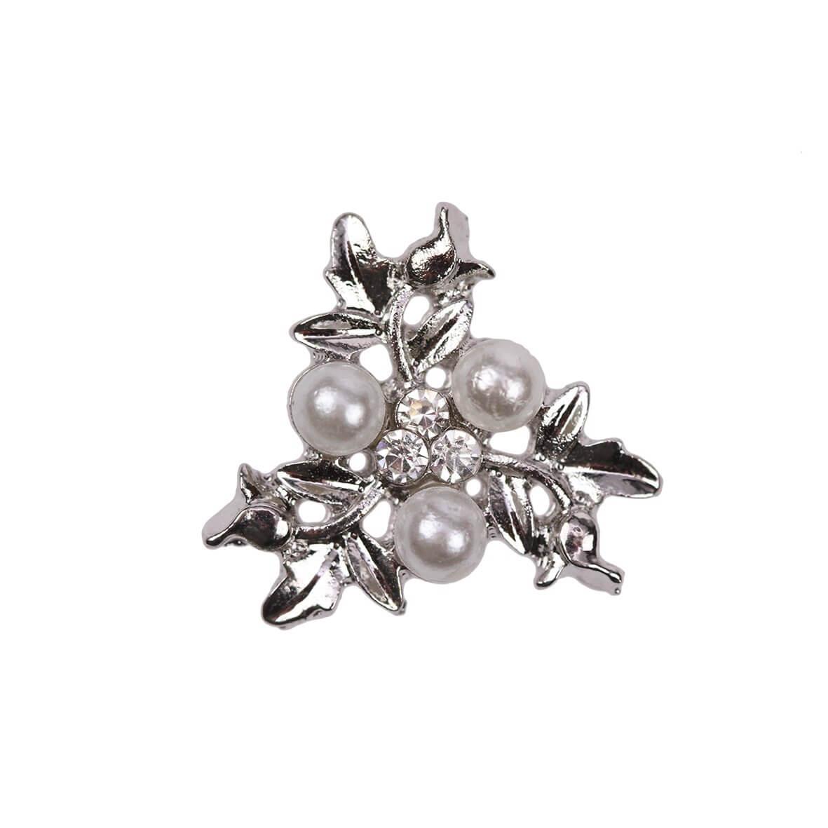 Trinity (Mini) Diamante and Pearl Floral Embellishment