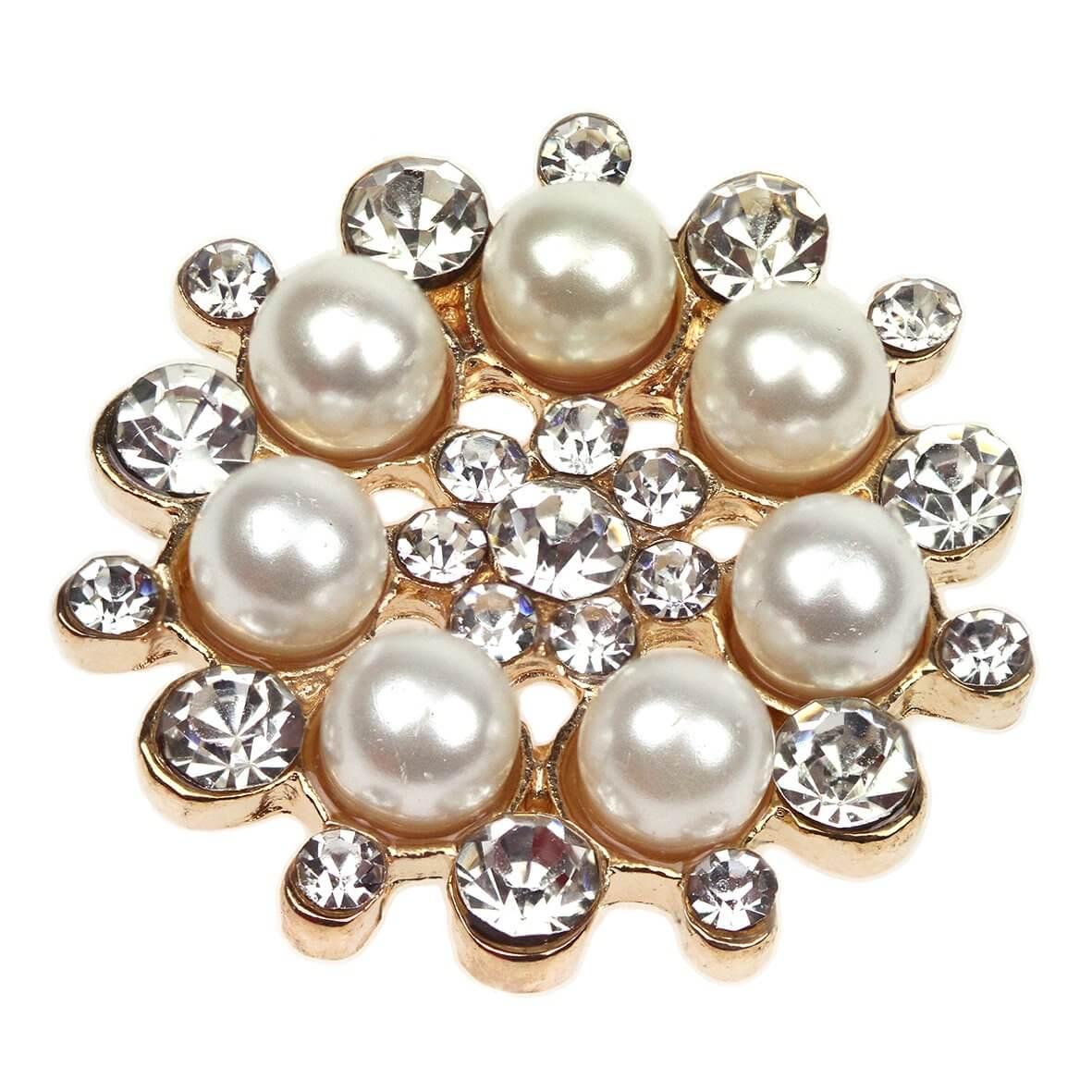 Gold Valentina Diamante and Pearl Embellishment