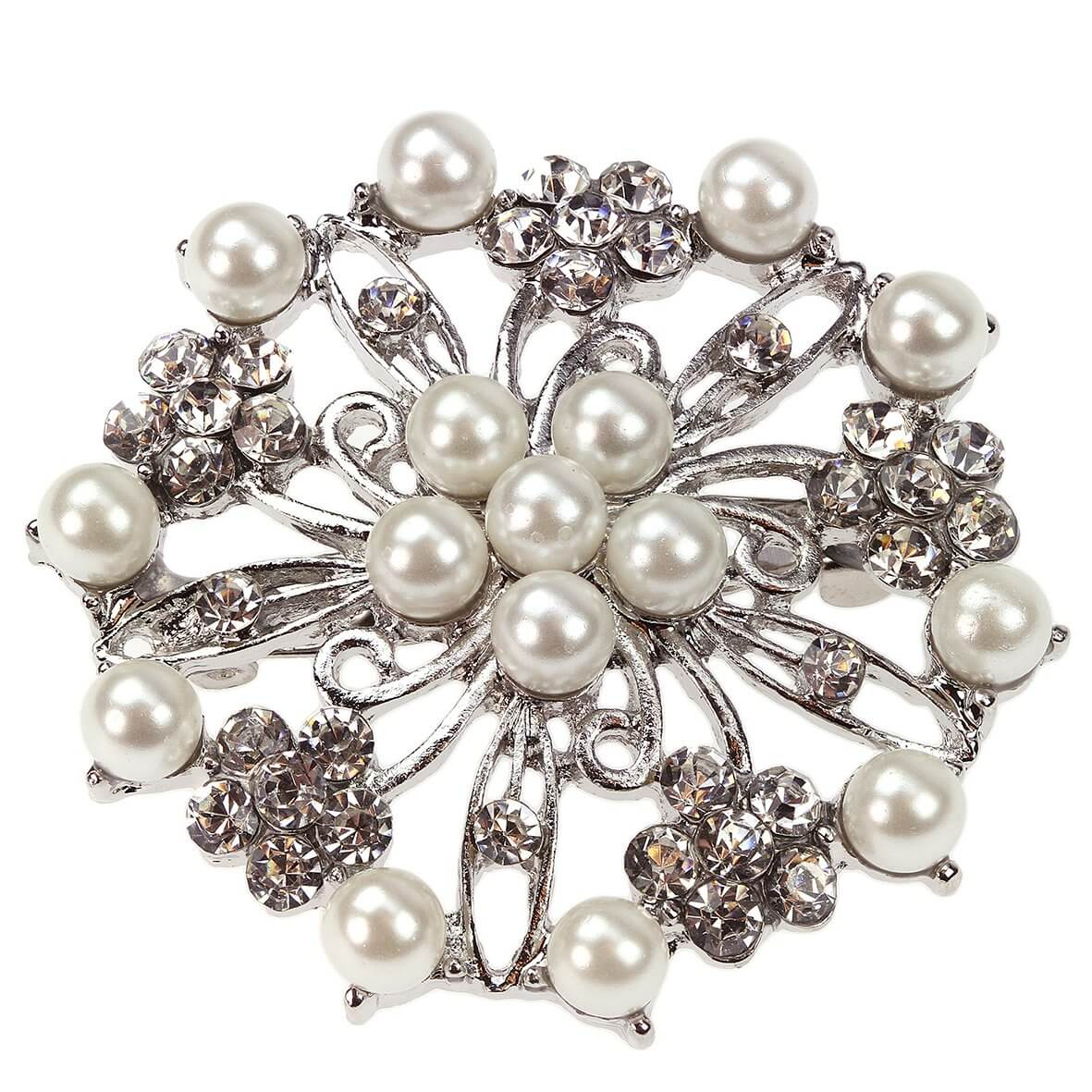 Limoges Crystal and Pearl Brooch