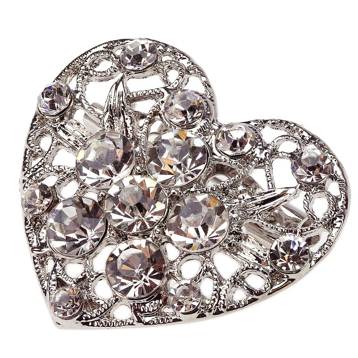 Vintage Venice Diamante Heart Brooch