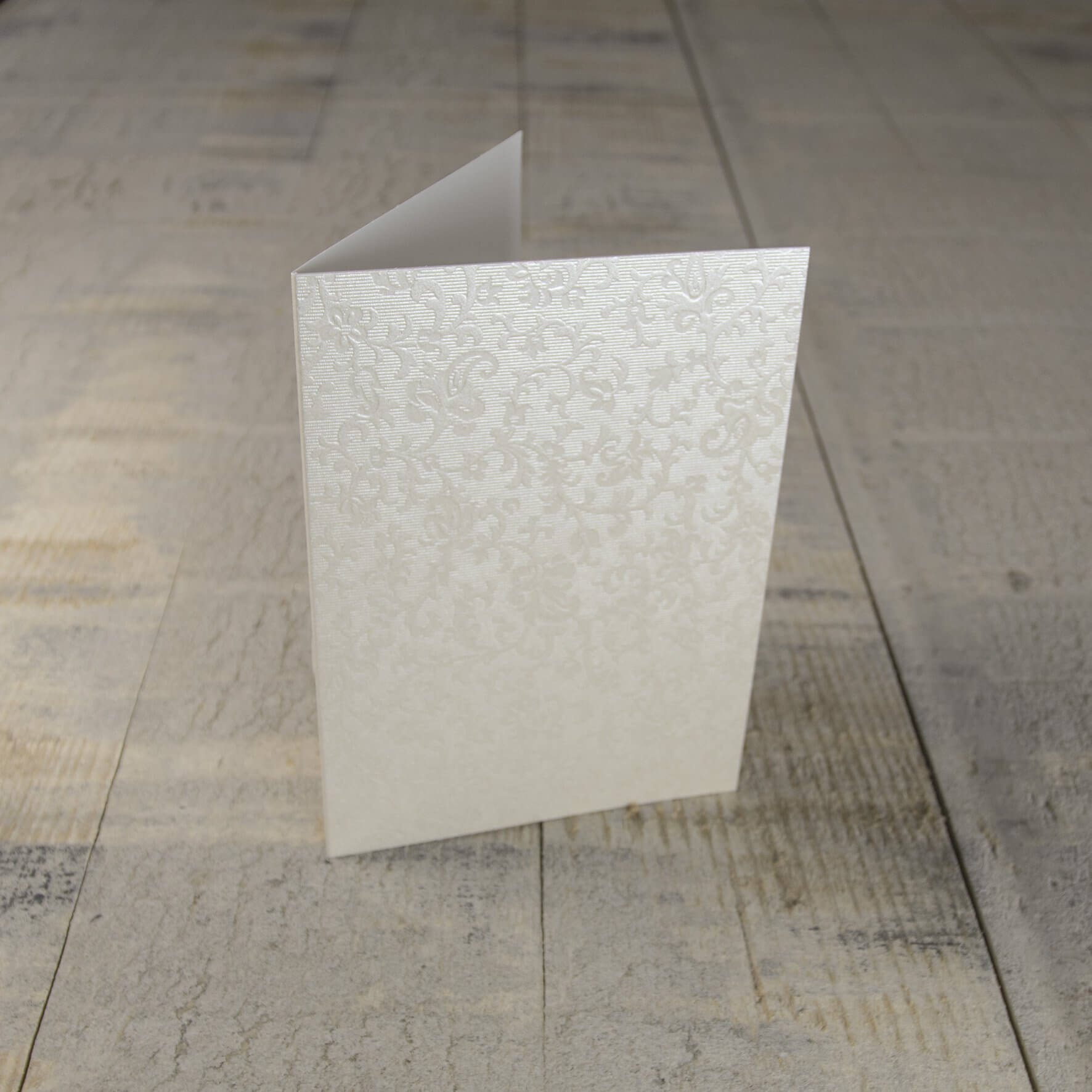 Creased Card C6 - Applique Ivory