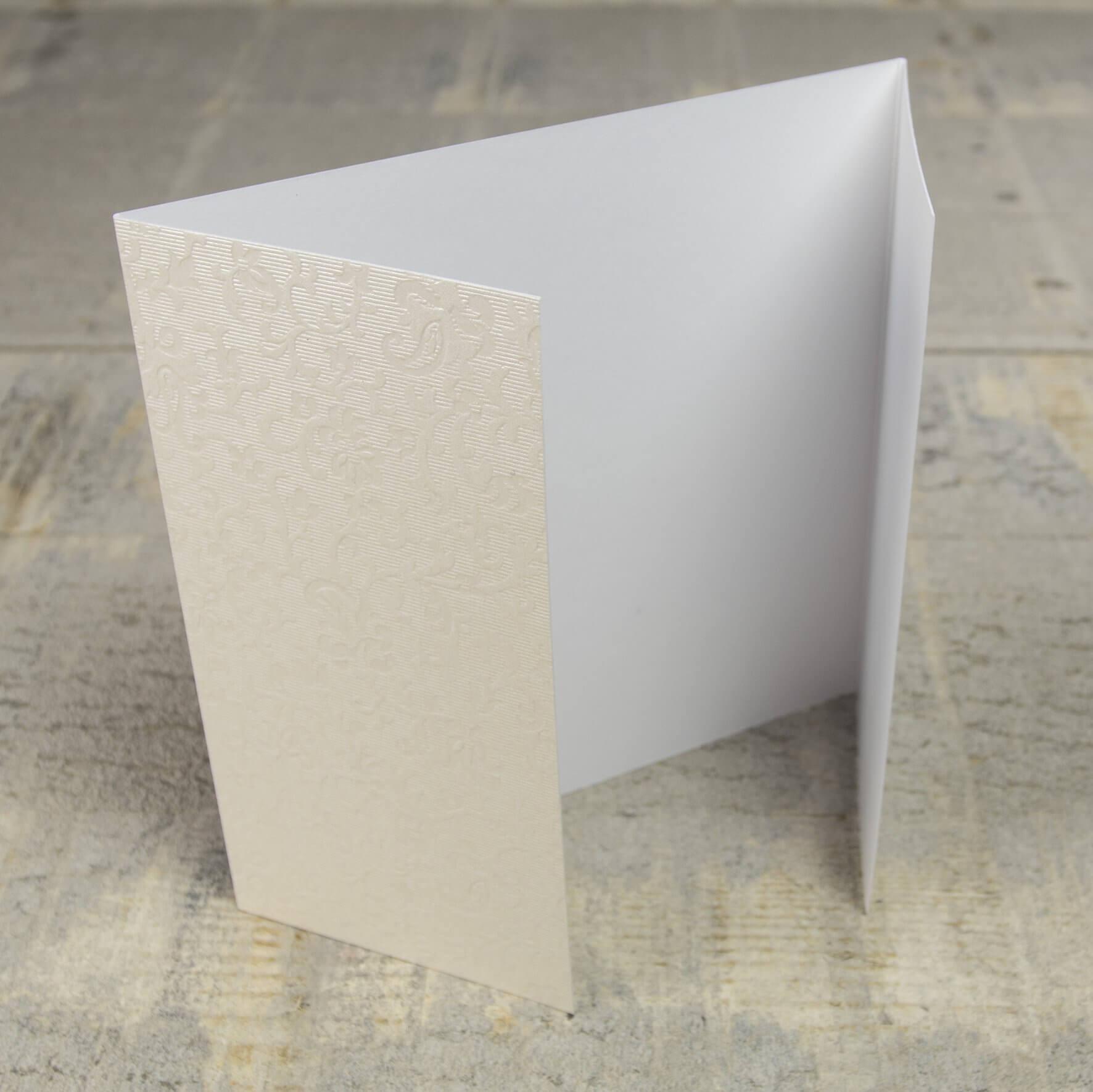 Creased Card Gatefold (Lg Sq) - Applique Ivory