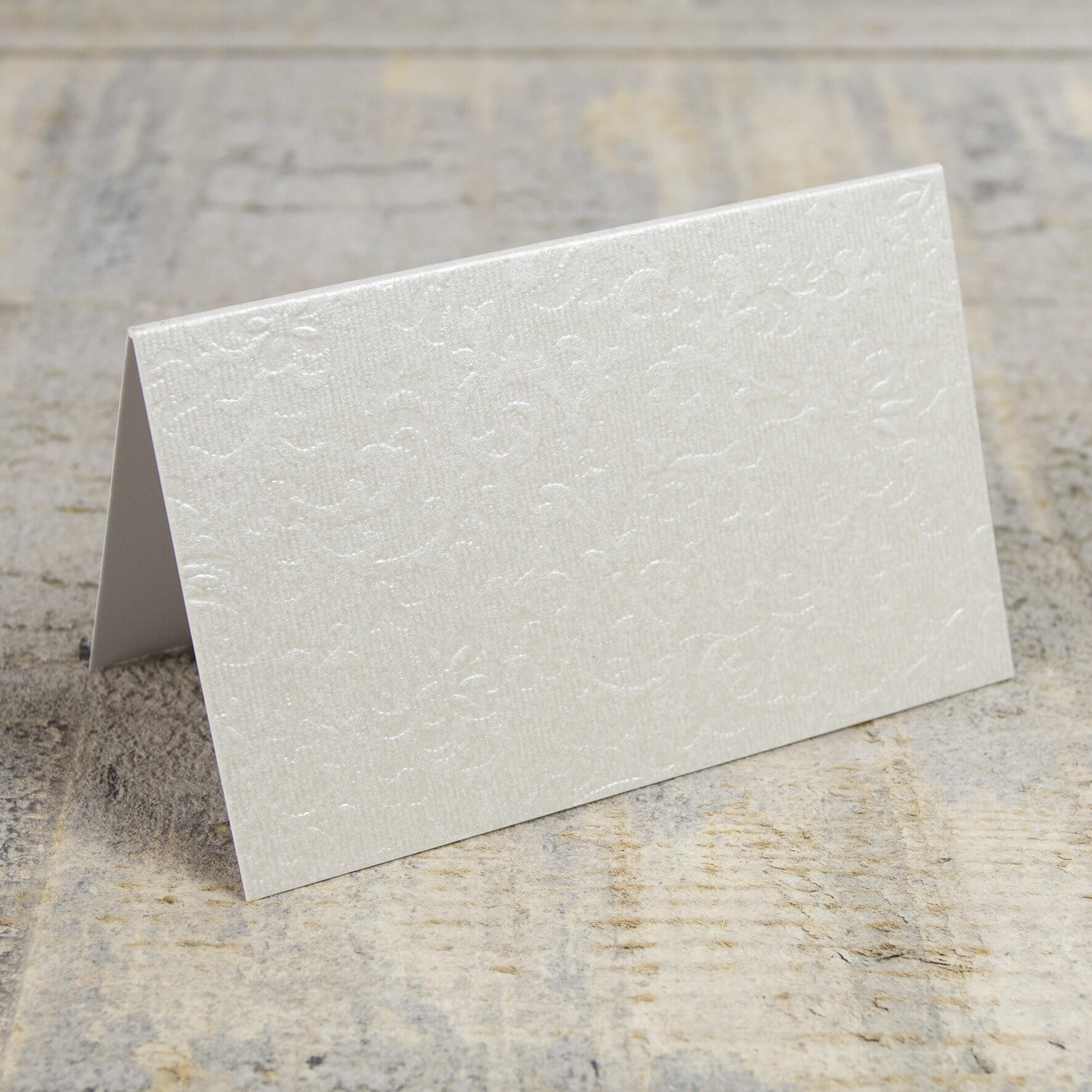 Creased Card Place Card - Applique Ivory