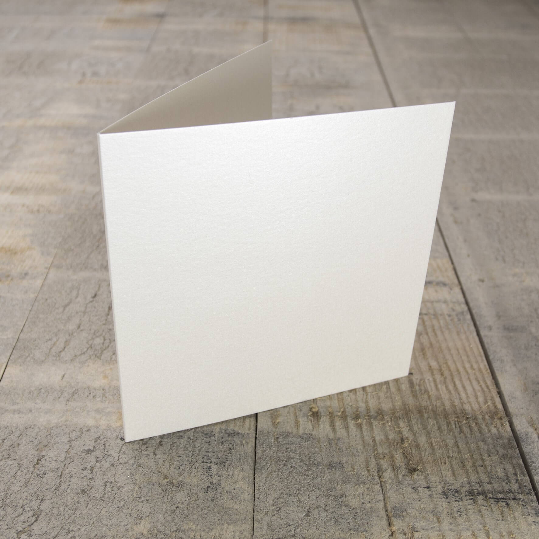 Creased Card Small Square - Soft Sheen Ivory