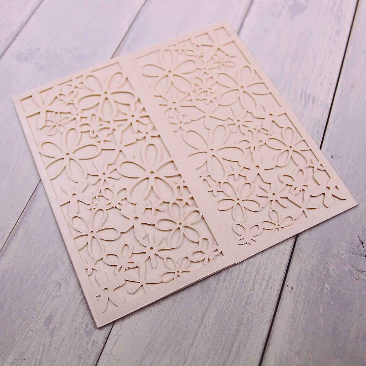 Belle Enchante (Pearlescent Ivory) Laser Cut Invitation