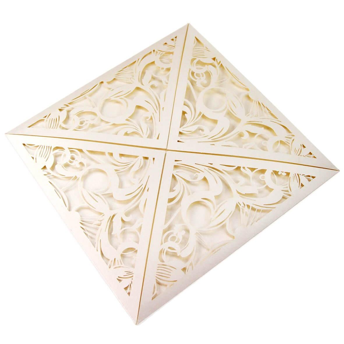 Belle Epoque (Pearlescent Bridal White) Laser Cut Wedding invitation