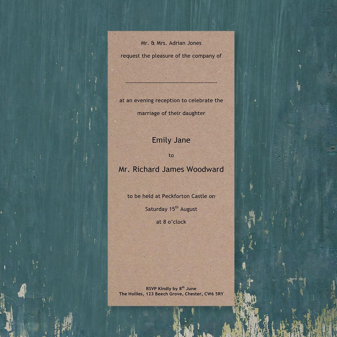 DL Cardstock - Evening Reception Invitation Template