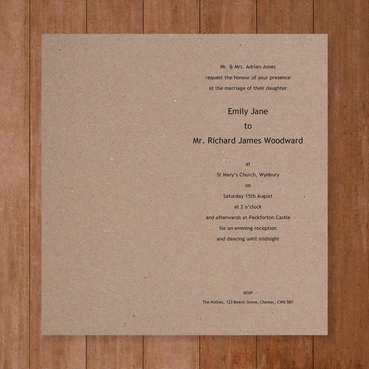 Large Tall Insert - Wedding Invitation Template