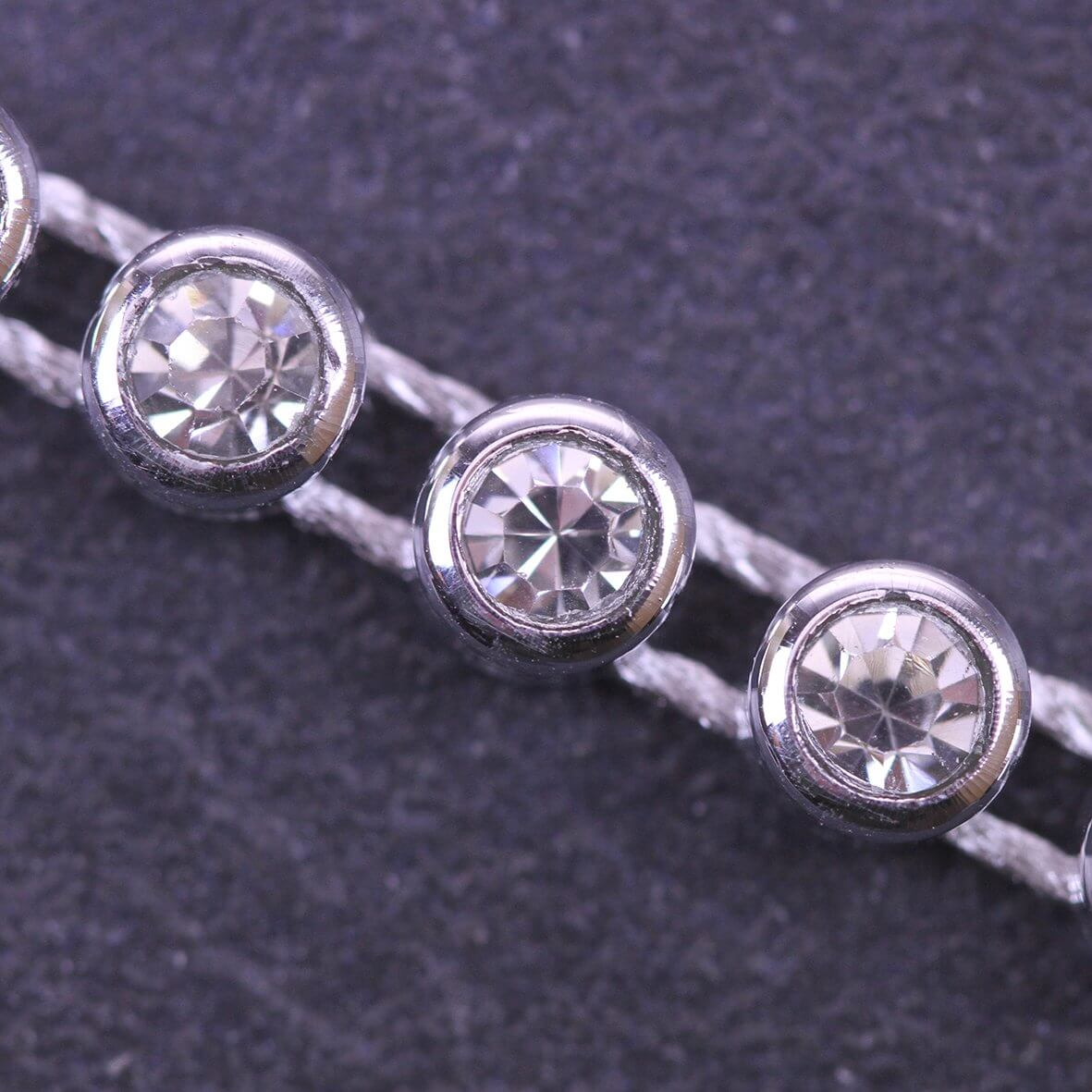 Single Strand Diamante Trim Silver