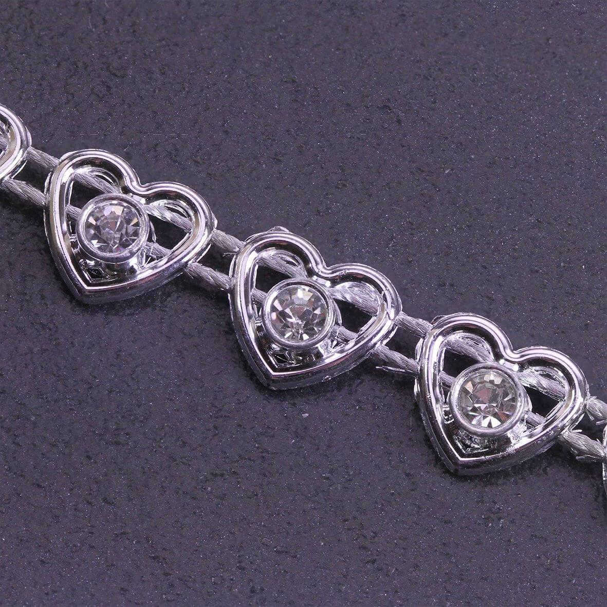 Heart Diamante Trim Silver - Zoom