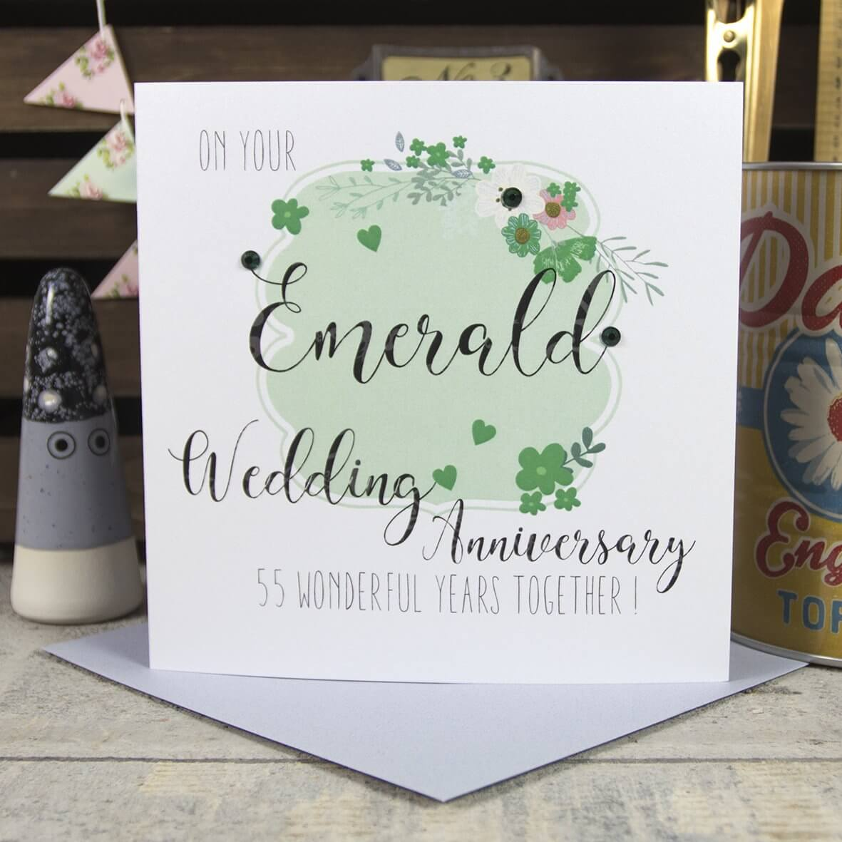 On your Emerald Wedding Anniversary 55 wonderful years together. Wedding Anniversary Card