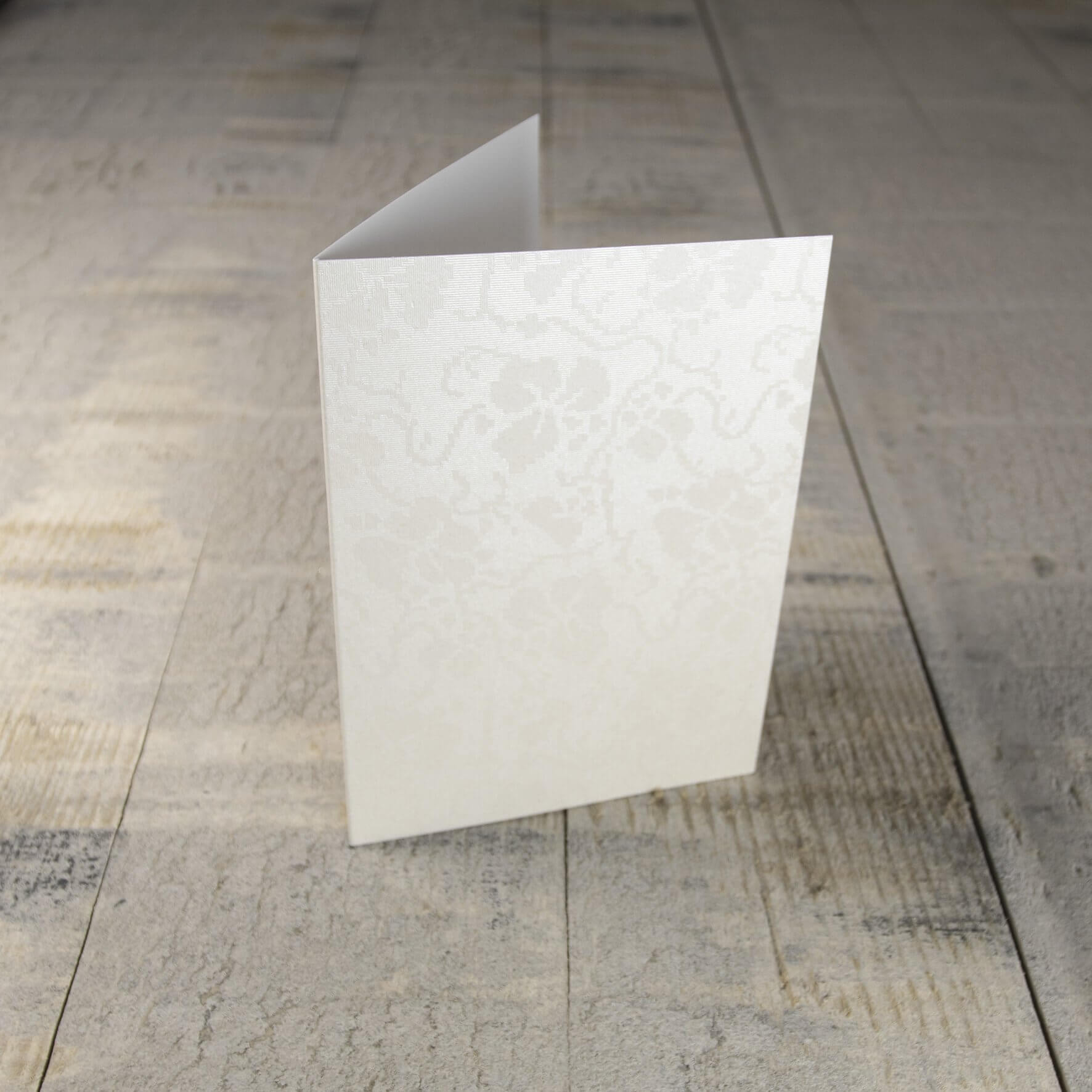 Creased Card C6 - Broderie Ivory