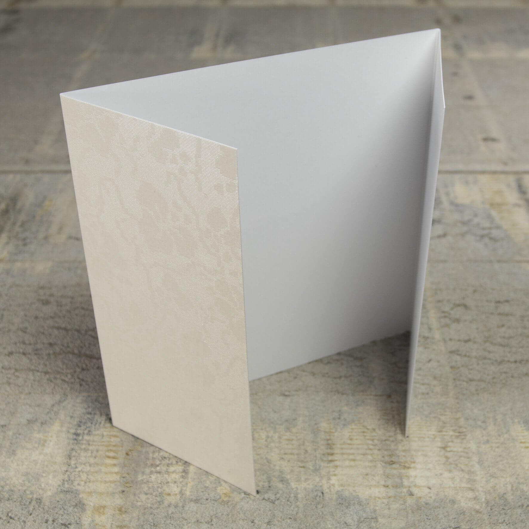 Creased Card Gatefold (Lg Sq) - Broderie Ivory
