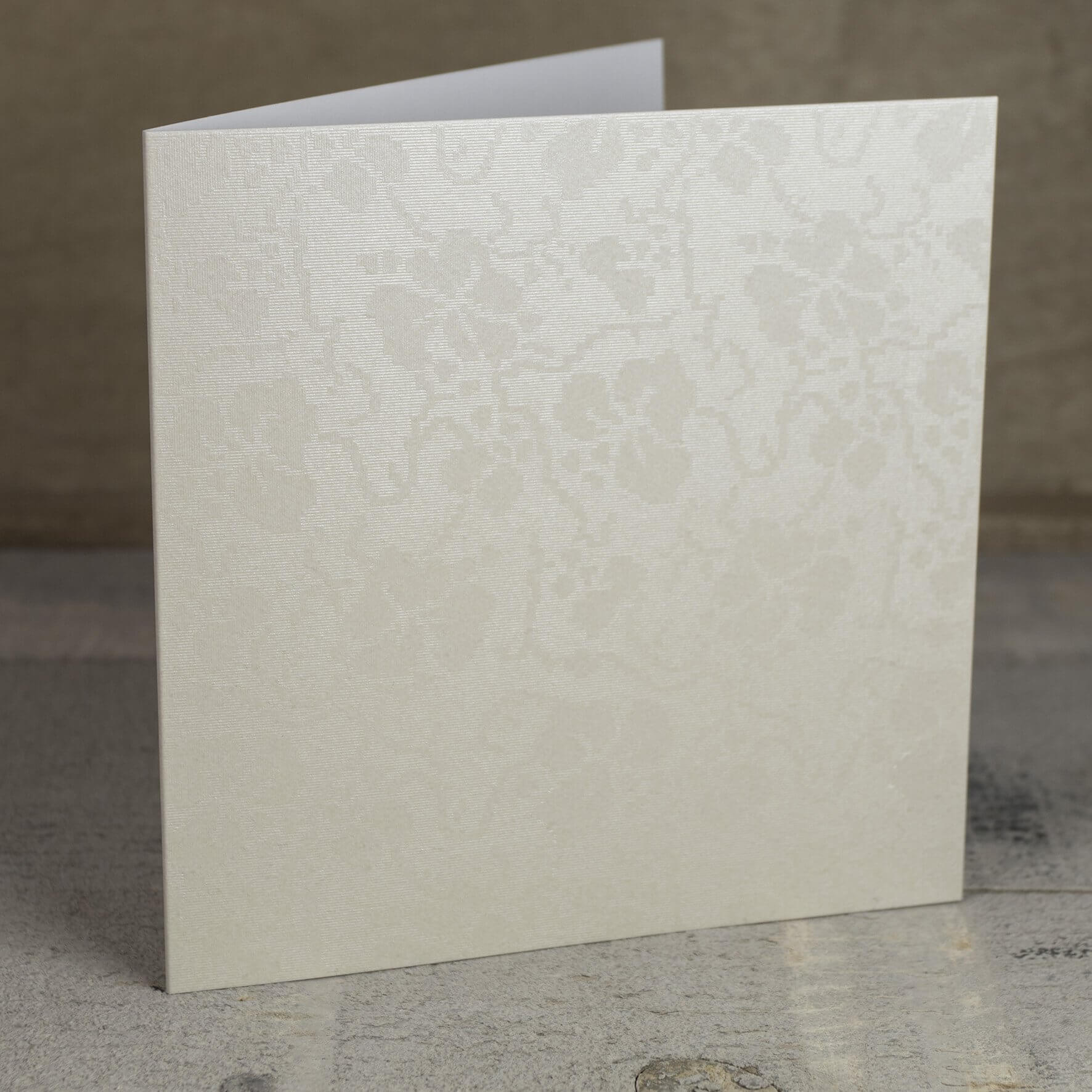 Creased Card Large Square - Broderie Ivory