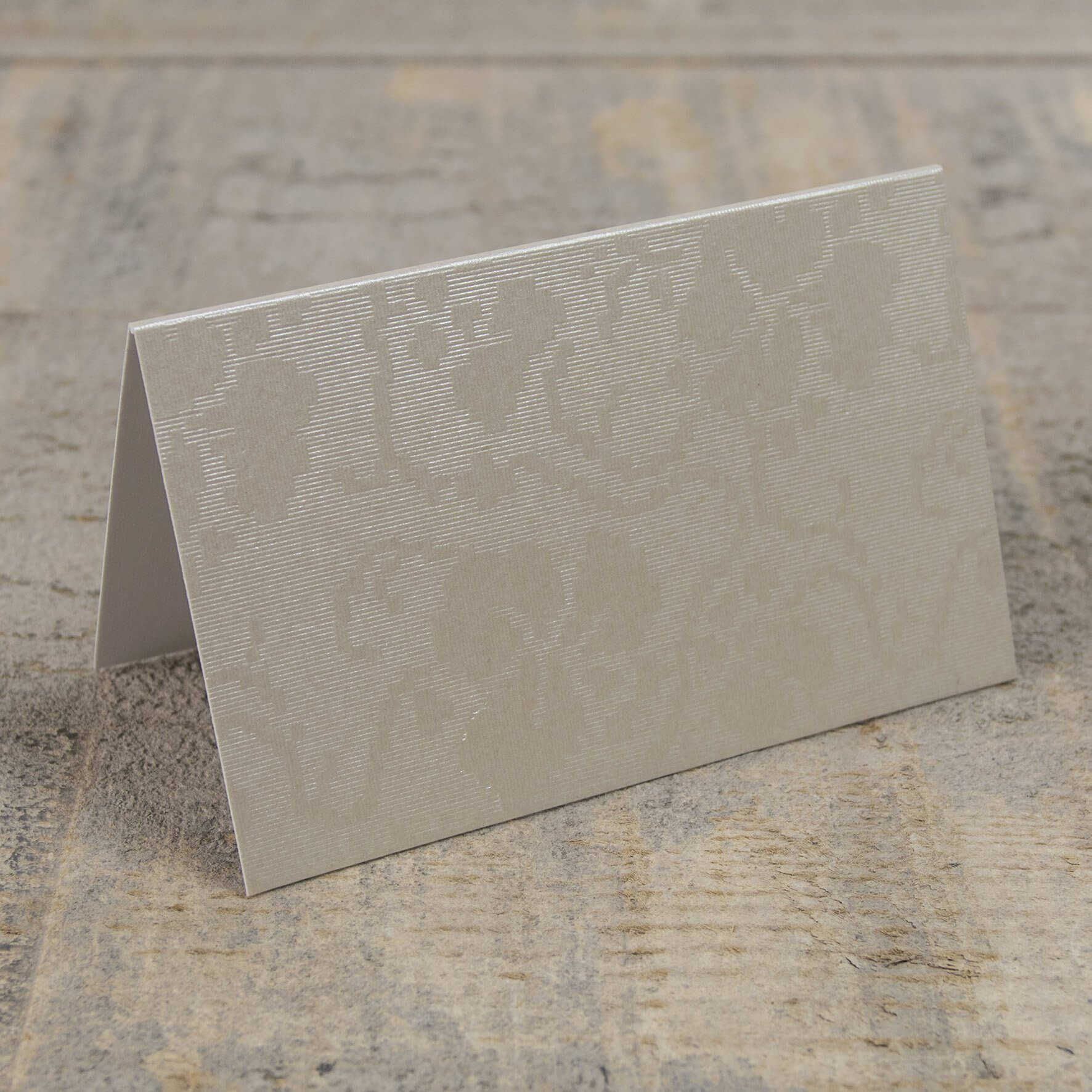 Creased Card Place Card - Broderie Ivory