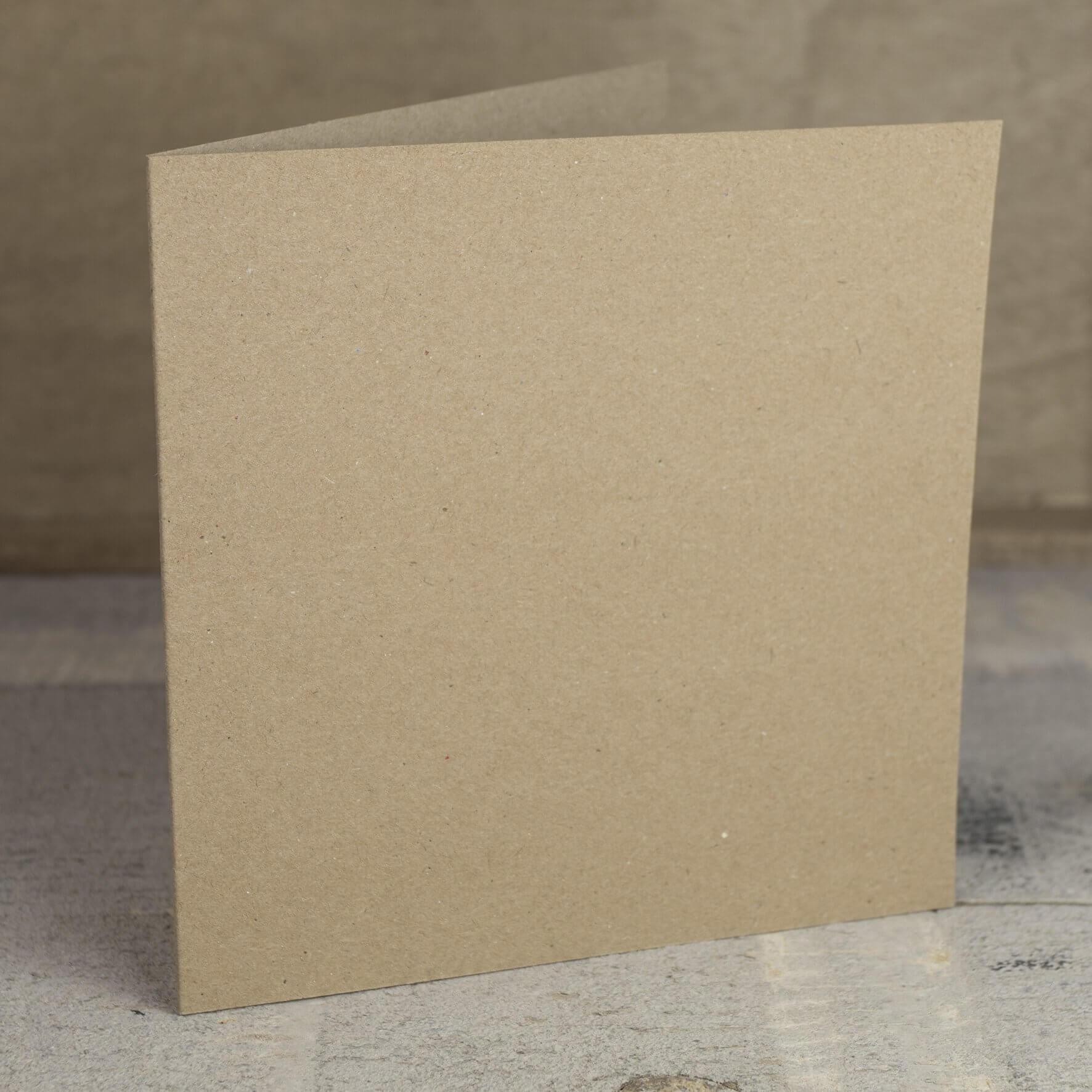 Creased Card Large Square - Kraft