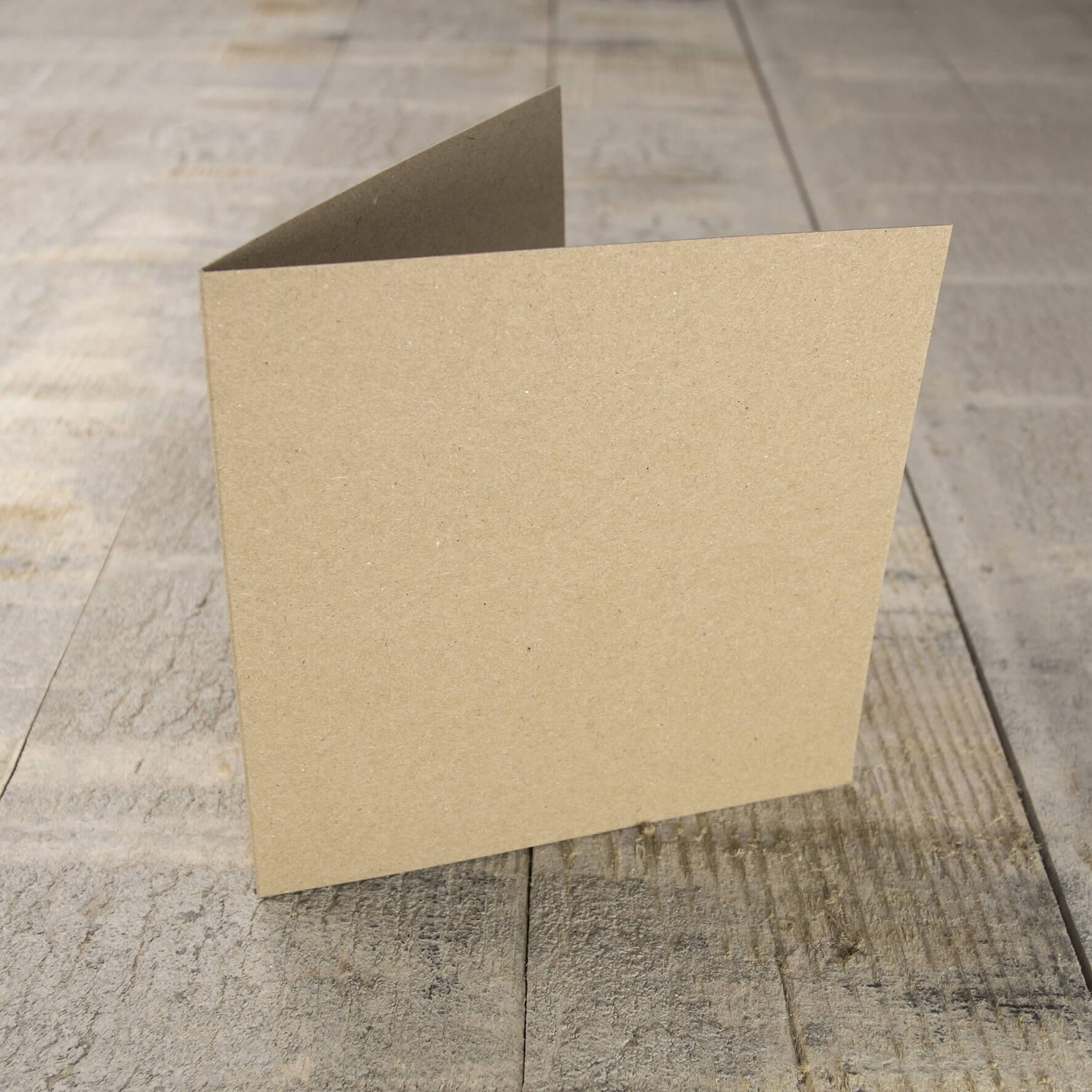 Creased Card Small Square - Kraft