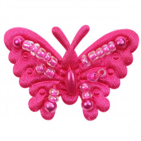 Fuchsia Beaded Fabric Butterflies