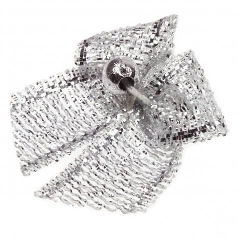 Silver Dinky Lurex Bows with Beads