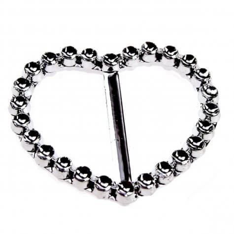 Heart Faux Diamante Buckle (40mm)
