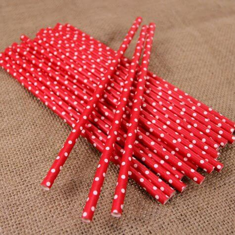 Polka Dot Red Paper Straws