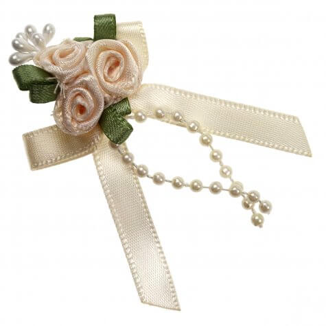 Cream Rose Ribbons with Bead Sprays