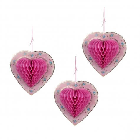 Heart Pink (Set of 3) Honeycomb Paper Decoration