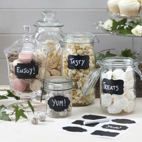 Chalk Board Sticker Labels (Mixed) on Jars