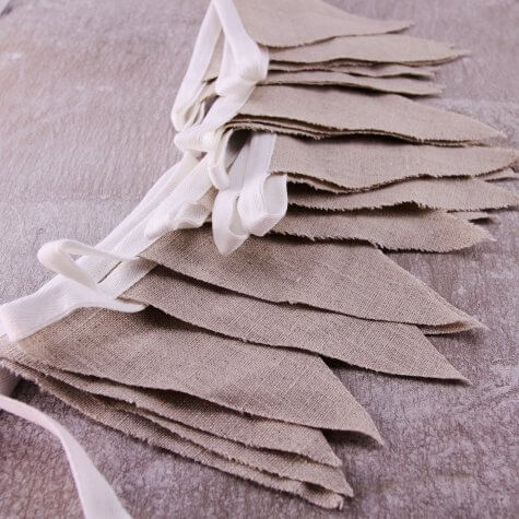 Plain Burlap Linen Bunting (Small Flags)