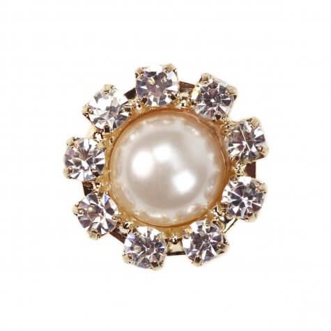 Gold Diamante Pearl Circle Mini