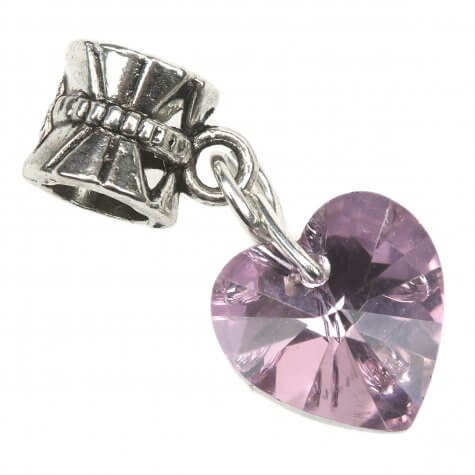 Crystal Heart Charm - Pale Pink -