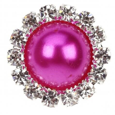 Diamante Pearl Circle Fuchsia Pink Embellishment