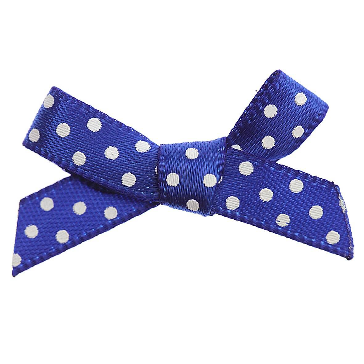 Royal Blue Bow White Polka Dot Ribbon Bows (7mm wide)