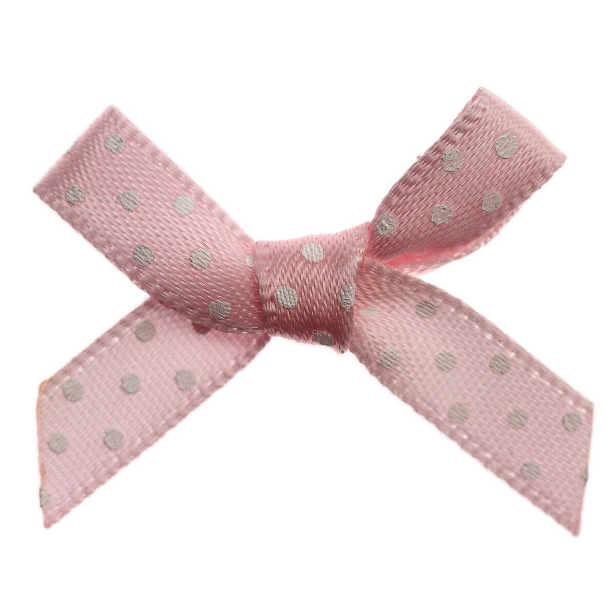 Pink Bow White Polka Dot Ribbon Bows (7mm wide)