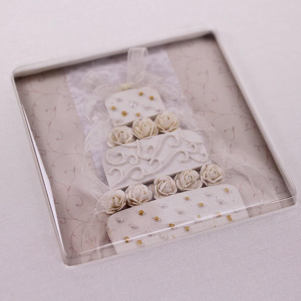 Wedding Cake Handmade Silk Guest Book - Detail