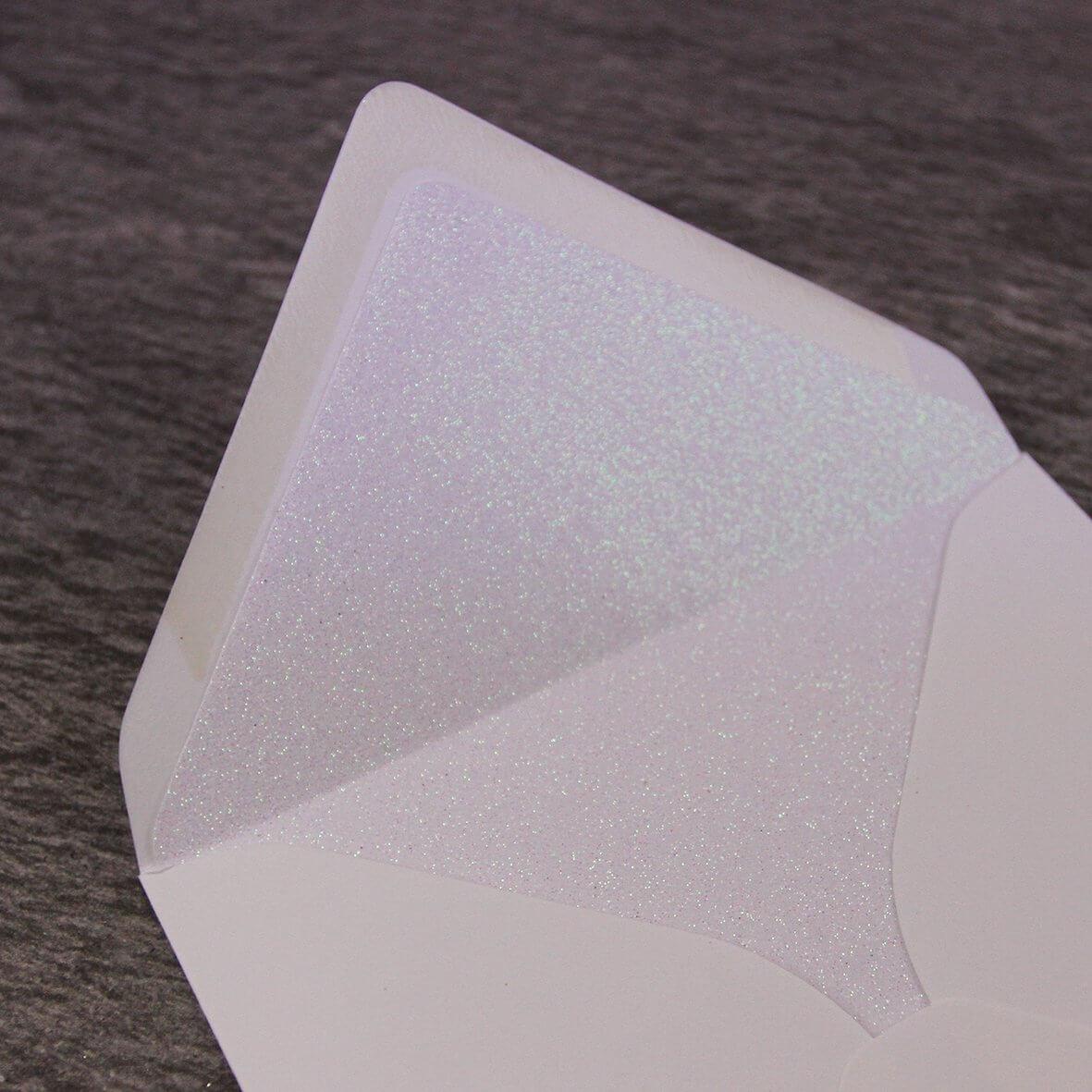 Iridescent White Glitter Paper Envelope Liner - Large Square 155mm - Shown in Ivory Envelope