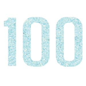 WOW GLITTER BLUE 100th Birthday Candle