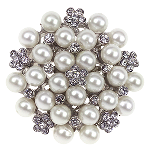 Vintage Style Brooch with Pearls /& Diamanté for Crafts
