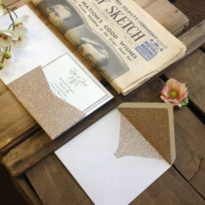 Coordinating envelope liners add sparkle and luxury to your wedding stationery.